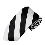 DSS-5850 | Slim Black and Light Silver College Stripe Woven Tie