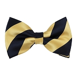 DSB-5375 | Pre-Tied Navy Blue and Honey Gold College Stripe Bow Tie