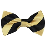 DSB-5875 | Pre-Tied Black and Honey Gold College Stripe Bow Tie