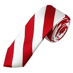 DSK-0120 | Skinny Red and White College Stripe Woven Tie
