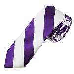 DSK-3120 | Skinny Purple and White College Stripe Woven Tie
