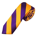 DSK-3148 | Skinny Deep Purple and Golden Yellow College Stripe Woven Tie