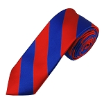 DSK-3601 | Skinny Royal Blue and Red College Stripe Woven Tie