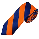 DSK-3603 | Skinny Royal Blue and Orange College Stripe Woven Tie
