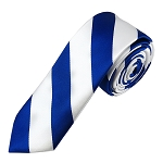 DSK-3620 | Skinny Royal Blue and White College Stripe Woven Tie