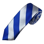 DSK-3650 | Skinny Royal Blue and Silver College Stripe Woven Tie