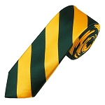 DSK-3748 | Skinny Forest Green and Gold College Stripe Woven Tie