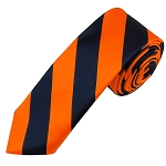 DSK-5303 | Skinny Navy and Orange College Stripe Woven Tie