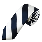 DSK-5320 | Skinny Navy Blue and White College Stripe Woven Tie