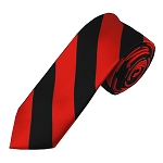 DSK-5801 | Skinny Black and Red College Stripe Woven Tie