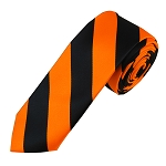 DSK-5803 | Skinny Black and Orange College Stripe Woven Tie