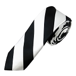 DSK-5820 | Skinny Black and White College Stripe Woven Tie