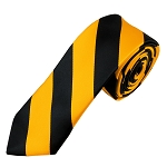 DSK-5848 | Skinny Black and Gold College Stripe Woven Tie