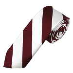 DSK-6220 | Skinny Burgundy and White College Stripe Woven Tie