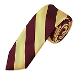 DSK-6275 | Skinny Burgundy and Honey Gold College Stripe Woven Tie