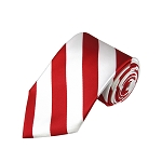 DS-0120 | Red and White College Stripe Woven Tie
