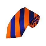 DS-3603 | Royal Blue and Orange College Stripe Woven Tie
