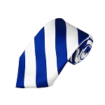 DS-3620 | Royal Blue and White College Stripe Woven Tie