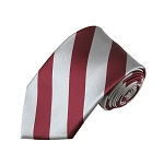 DS-6250 | Burgundy and Silver College Stripe Woven Tie