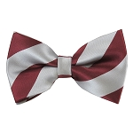 DSB-6250 | Pre-Tied Burgundy and Silver College Stripe Bow Tie