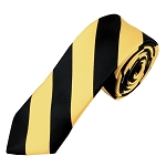 DSK-5875 | Skinny Black and Honey Gold College Stripe Woven Tie