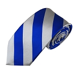 DSS-3650 | Slim Royal Blue and Silver College Stripe Woven Tie