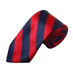 DSS-5301 | Slim Navy and Red College Stripe Woven Tie