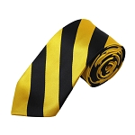 DSS-5846 | Slim Black and Gold Bar College Stripe Woven Tie