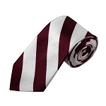 DSS-6220 | Slim Burgundy and White College Stripe Woven Tie