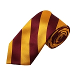 DSS-6246 | Slim Burgundy and Old Gold College Stripe Woven Tie