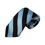 DSS-2658 | Slim Sky Blue and Black College Stripe Woven Tie