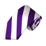 DSS-3120 | Slim Deep Purple and White College Stripe Woven Tie