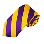 DSS-3148 | Slim Deep Purple and Golden Yellow College Stripe Woven Tie