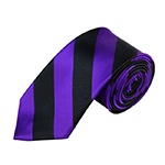 DSS-3158 | Slim Dark Purple and Black College Stripe Woven Tie