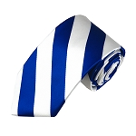 DSS-3620 | Slim Royal Blue and White College Stripe Woven Tie