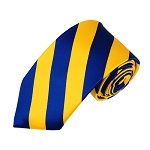 DSS-3648 | Slim Royal Blue and Yellow College Stripe Woven Tie