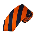 DSS-5303 | Slim Navy and Orange College Stripe Woven Tie
