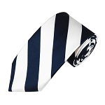DSS-5320 | Slim Navy and White College Stripe Woven Tie