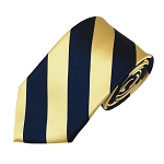 DSS-5375 | Slim Navy and Honey Gold College Stripe Woven Tie