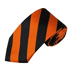 DSS-5803 | Slim Black and Orange College Stripe Woven Tie