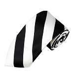 DSS-5820 | Slim Black and White College Stripe Woven Tie