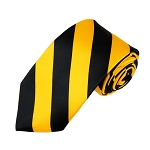 DSS-5848 | Slim Black and Gold College Stripe Woven Tie