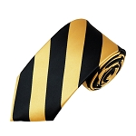 DSS-5875 | Slim Black and Honey Gold College Stripe Woven Tie
