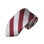 DSS-6250 | Slim Burgundy and Silver College Stripe Woven Tie