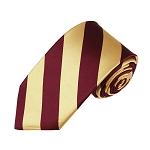 DSS-6275 | Slim Burgundy and Honey Gold College Stripe Woven Tie