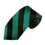 DSS-8458 | Slim Teal Green and Black College Stripe Woven Tie