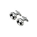 CK-01 | Large Black and White Pin Wheel Premium Silver Cuff Links