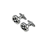 CK-02 | Large Black and White Checkers Premium Silver Cuff Links