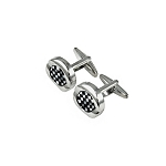 CK-03 | Small Black and White Checkers Premium Silver Cuff Links