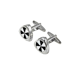 CK-06 | Black and White Pinwheel Triangular Premium Silver Cuff Links